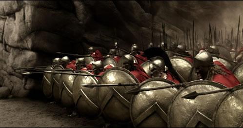 Los espartanos haciendo piña